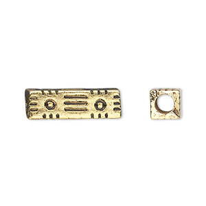 bead, antiqued gold-finished copper-coated plastic, 20x6mm square tube with 3mm hole. sold per 50-gram pkg, approximately 100 beads.