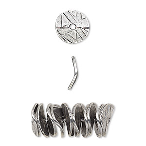 bead, antiqued pewter (tin-based alloy), 10x2mm textured wavy rondelle with abstract design. sold per pkg of 10.