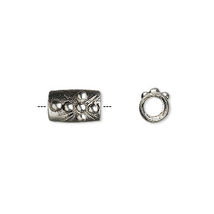 bead, antiqued pewter (tin-based alloy), 10x6mm cylinder with cross and church. sold per pkg of 2.