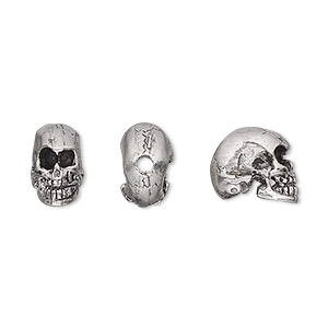 bead, antiqued pewter (tin-based alloy), 10x6mm skull. sold per pkg of 2.