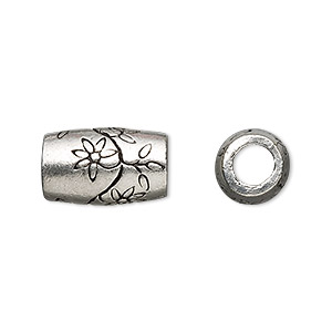 bead, antiqued pewter (tin-based alloy), 16x10mm cylinder with flowers, 5mm hole. sold per pkg of 2.