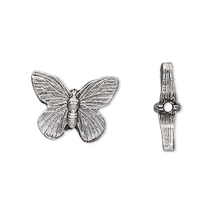 bead, antiqued pewter (tin-based alloy), 18x14mm butterfly. sold per pkg of 2.