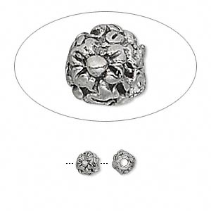 bead, antiqued pewter (tin-based alloy), 5mm flower. sold per pkg of 10.