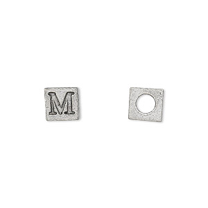 bead, antiqued pewter (tin-based alloy), 7x7mm cube with greek letter, mu, 3mm hole. sold per pkg of 4.