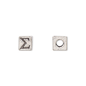 bead, antiqued pewter (tin-based alloy), 7x7mm cube with greek letter, sigma, 3mm hole. sold per pkg of 4.