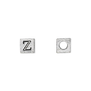 bead, antiqued pewter (tin-based alloy), 7x7mm cube with greek letter, zeta, 3mm hole. sold per pkg of 4.
