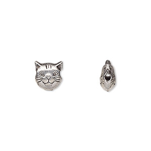 bead, antiqued pewter (tin-based alloy), 8mm cat face. sold per pkg of 4.