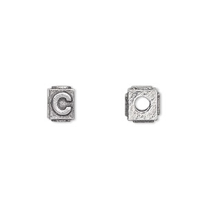 bead, antiqued pewter (tin-based alloy), 8x6mm rectangle with alphabet letter c and 3mm hole. sold per pkg of 4.
