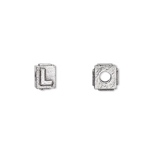 bead, antiqued pewter (tin-based alloy), 8x6mm rectangle with alphabet letter l and 3mm hole. sold per pkg of 4.