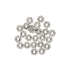 bead, antiqued pewter (zinc-based alloy), 4x1mm beaded rondelle with dots. sold per pkg of 24.