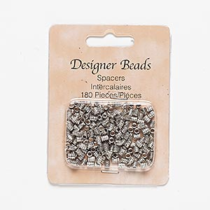 bead, antiqued silver-finished pewter (zinc-based alloy), 4x3mm textured round tube. sold per pkg of 180.