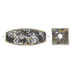 bead, antiqued silver-finished plastic, yellow and black, 30x12mm flat-sided oval with 3.5mm hole. sold per pkg of 16.