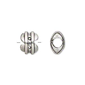 bead, antiqued silver-plated pewter (tin-based alloy), 12x9mm two-sided dollar sign, 5mm hole. sold individually.