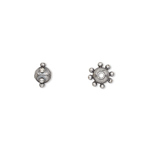 bead, antiqued silver-plated steel, 7x5mm studded round. sold per pkg of 10.