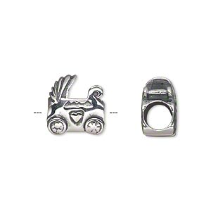 bead, antiqued sterling silver, 10.5x10mm double-sided baby stroller with 4.5-5mm hole. sold individually.