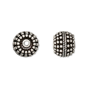 bead, antiqued sterling silver, 12.5-13mm beaded round. sold individually.