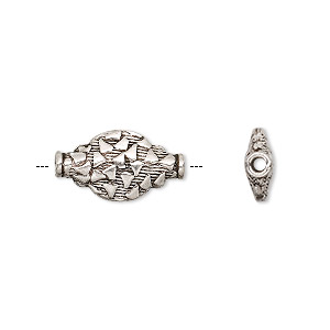 bead, antiqued sterling silver, 16x8mm flat oval with pattern. sold per pkg of 6.