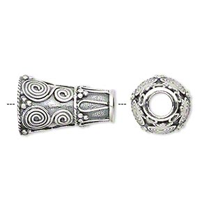 bead, antiqued sterling silver, 20x13mm cone, 4.5mm inside diameter. sold per pkg of 2.