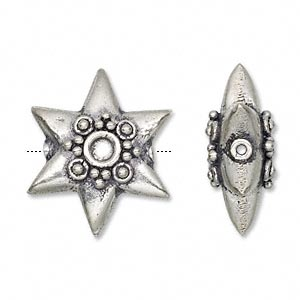bead, antiqued sterling silver, 24x9mm fluted star. sold individually.