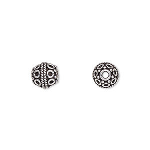bead, antiqued sterling silver, 8mm round with wire circle design. sold per pkg of 4.