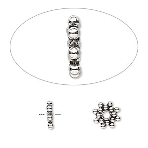 bead, antiqued sterling silver, 8x1mm beaded snowflake rondelle. sold per pkg of 10.