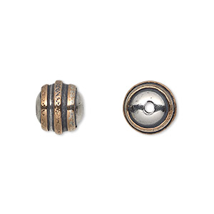 bead, antiqued sterling silver and copper, 10mm round with textured concentric circles. sold individually.