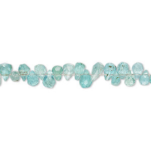 bead, apatite (natural), 5x3mm-6x4mm hand-cut top-drilled faceted teardrop, b- grade, mohs hardness 5. sold per 4-inch strand.