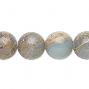 bead, aqua terra jasper (natural), 14mm round, b grade, mohs hardness 3-1/2 to 4. sold per 16-inch strand.