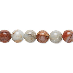 bead, aqua terra jasper (natural), 8mm round, b grade, mohs hardness 3-1/2 to 4. sold per 16-inch strand.