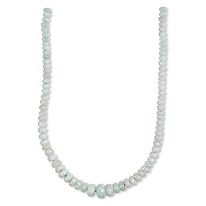 bead, aquamarine (heated), 8x5mm-18x12mm graduated faceted rondelle, c grade, mohs hardness 7-1/2 to 8. sold per 18-inch strand.