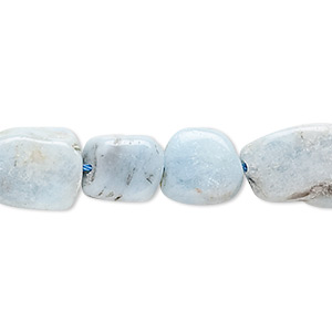 bead, aquamarine (heated), 9x8mm-14x12mm hand-cut puffed rectangle, d grade, mohs hardness 7-1/2 to 8. sold per 16-inch strand.