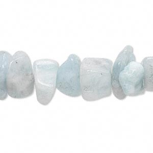 bead, aquamarine (heated), extra-large chip, mohs hardness 7-1/2 to 8. sold per 17-inch strand.