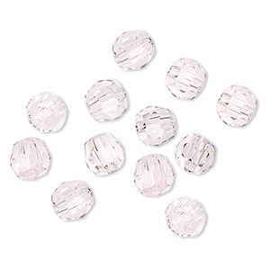 bead, asfour crystal, crystal, rose, 6mm faceted round. sold per pkg of 12.