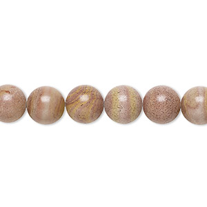 bead, autumn hickoryite (natural), 8mm round, b grade, mohs hardness 3-1/2. sold per 16-inch strand.