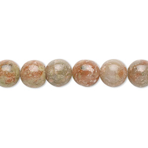 bead, autumn jasper (natural), 8mm round, b grade, mohs hardness 6-1/2 to 7. sold per 16-inch strand.