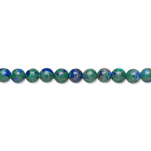 bead, azurite-malachite (assembled), 4mm round. sold per 16-inch strand.