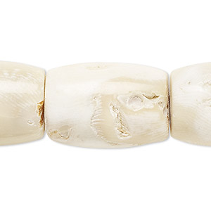 bead, bamboo coral (bleached), white, 28x20mm barrel. sold per 16-inch strand.