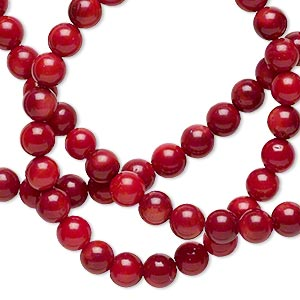bead, bamboo coral (dyed), dark red, 4-5mm round, b grade, mohs hardness 3-1/2 to 4. sold per 15-inch strand.