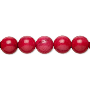 bead, bamboo coral (dyed), medium red to orange-red, 9-10mm round, b- grade, mohs hardness 3-1/2 to 4. sold per 16-inch strand.