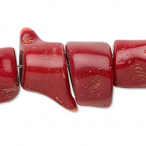 bead, bamboo coral (dyed), red, 20x12mm-30x17mm freeform, d grade, mohs hardness 3-1/2 to 4. sold per 15-inch strand.