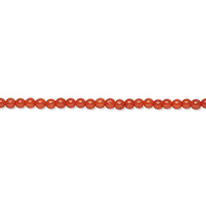 bead, bamboo coral (dyed), red, 2mm hand-cut round with 0.5mm hole, b- grade, mohs hardness 3-1/2 to 4. sold per 16-inch strand.