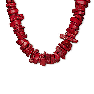 bead, bamboo coral (dyed), red, 33x12mm-42x28mm freeform, d grade, mohs hardness 3-1/2 to 4. sold per 15-inch strand.