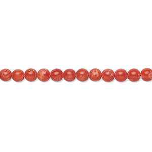 bead, bamboo coral (dyed), red, 4.5-5mm hand-cut round with 0.6-0.8mm hole, b grade, mohs hardness 3-1/2 to 4. sold per 16-inch strand.
