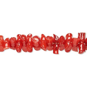 bead, bamboo coral (dyed), red, 7x3mm-13x5mm branch, c grade, mohs hardness 3-1/2 to 4. sold per 4-inch strand.