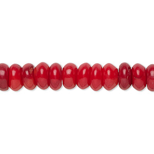 bead, bamboo coral (dyed), red, 8x3mm-8x4mm hand-cut rondelle, b- grade, mohs hardness 3-1/2 to 4. sold per 16-inch strand.
