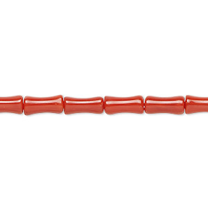 bead, bamboo coral (dyed), red, 9x4mm bamboo, b grade, mohs hardness 3-1/2 to 4. sold per 16-inch strand.