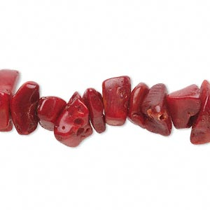 bead, bamboo coral (dyed), red, large chip and 7x5mm-14x10mm branch, d grade, mohs hardness 3-1/2 to 4. sold per 15-inch strand.