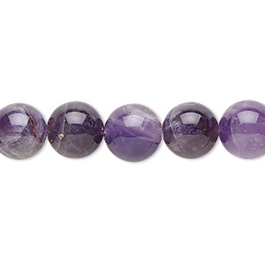 bead, banded amethyst (natural), 10mm round, b grade, mohs hardness 7. sold per 16-inch strand.