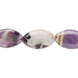 bead, banded amethyst (natural), 19x12mm oval, b grade, mohs hardness 7. sold per 16-inch strand.
