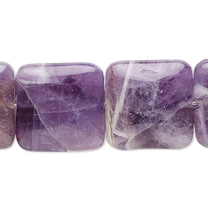 bead, banded amethyst (natural), 20x20mm square, b grade, mohs hardness 7. sold per 16-inch strand.